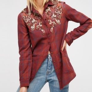 Free People Stevies Beaded Flannel Western Tunic